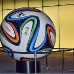 The gigantic replica of Adidas Brazuca, the official match ball of the 2014 FIFA World Cup display at Suntec City Mall.